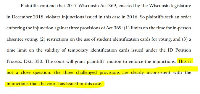 BREAKING: Wisconsin federal court stops GOP effort to restrict voting rights.  Big win for the @PerkinsCoieLLP political law team on behalf of @onewisconsinnow and @RedistrictFdn.