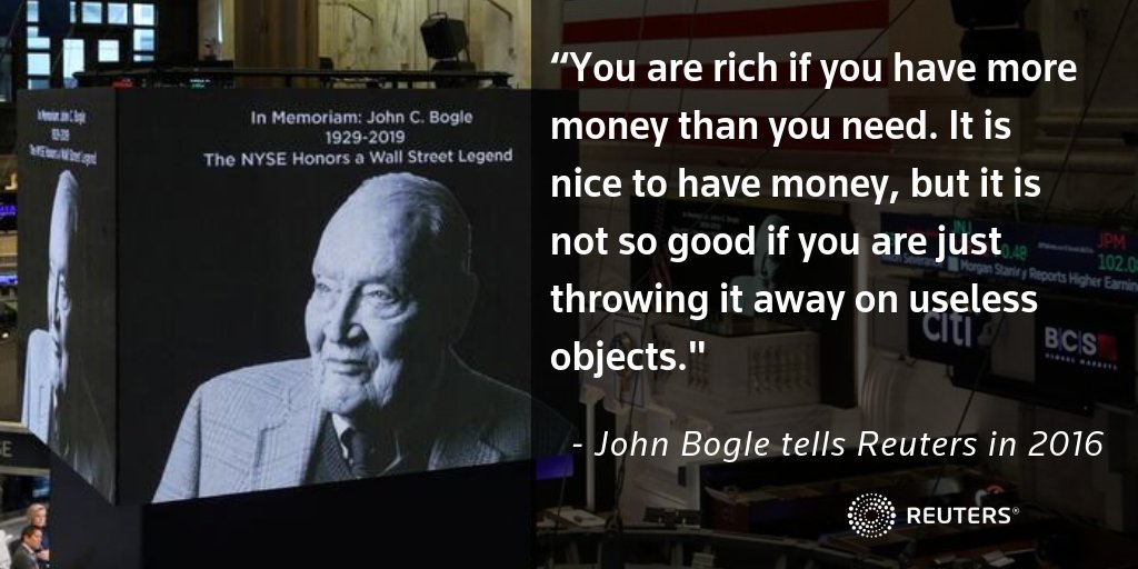 Revisit the words and wisdom of John Bogle, who died at the age of 89 on Wednesday https://reut.rs/2Di2YLj