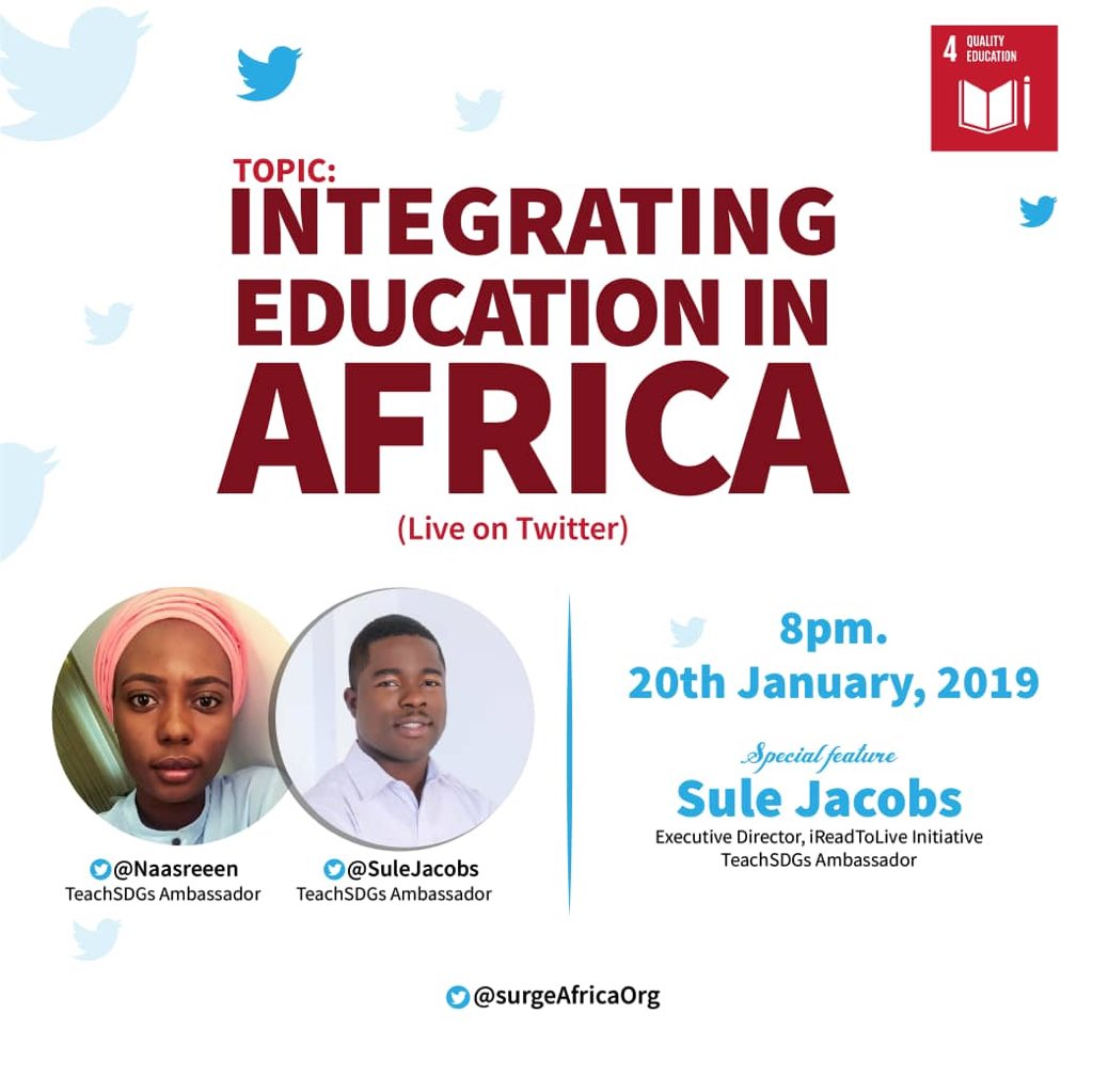 Join @SuleJacobs and i, as we discuss integrating education in Africa! #IEA #edchat #TeachSDGs