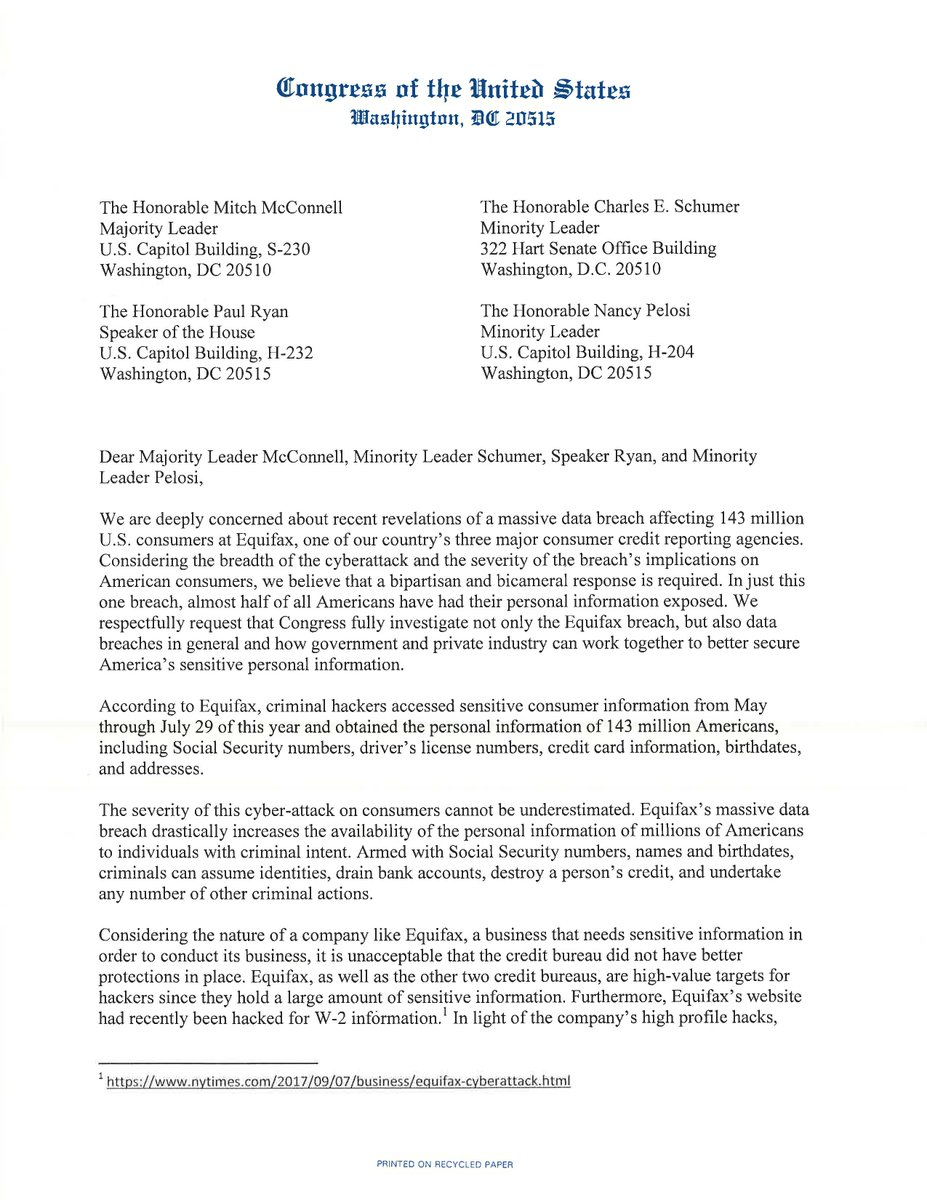 In 2017, I led a letter to House & Senate leadership urging swift action following the  Dat@Equifaxa Breach that exposed 143 million Americans' private info. Under Democratic leadership, rest assured that we'll strengthen data privacy protections & hold bad actors accountable.
