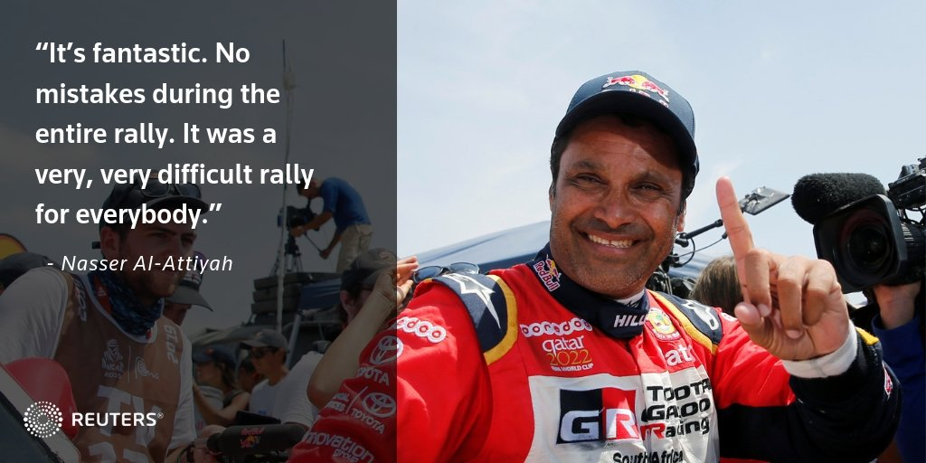 LATEST: Qatar's Nasser Al-Attiyah claimed his third Dakar Rally title today, finishing with a 46-minute lead https://reut.rs/2FIj9D5