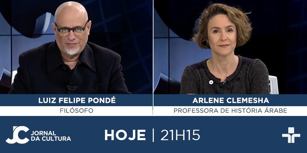 DAQUI A POUCO: @JoyceRibeiroTV recebe o filósofo @lf_ponde e a professora de História Árabe da USP, Arlene Clemesha. Às 21h15. #JornaldaCultura