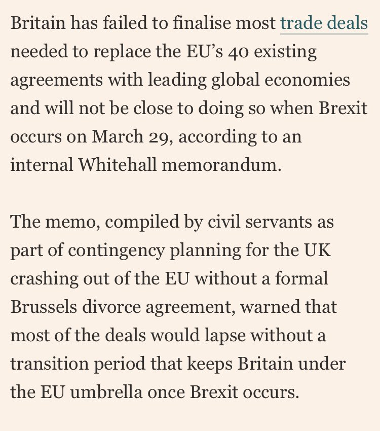 """Liam Fox once said he could replicate our existing 40 trade deals (via EU) with countries like South Korea, Switzerland, Turkey etc by """"one second after midnight"""" at the end of March 2019: now Whitehall estimates hardly any will be ready by then @FT https://t.co/1CU2EgDlJf"""