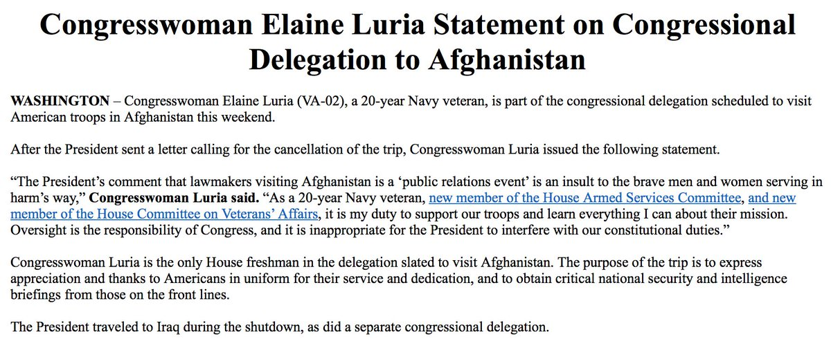 """NEW: Rep. Elaine Luria: """"The President's comment that lawmakers visiting Afghanistan is a 'public relations event' is an insult to the brave men and women serving in harm's way.' https://t.co/fnkIXPeyoY"""