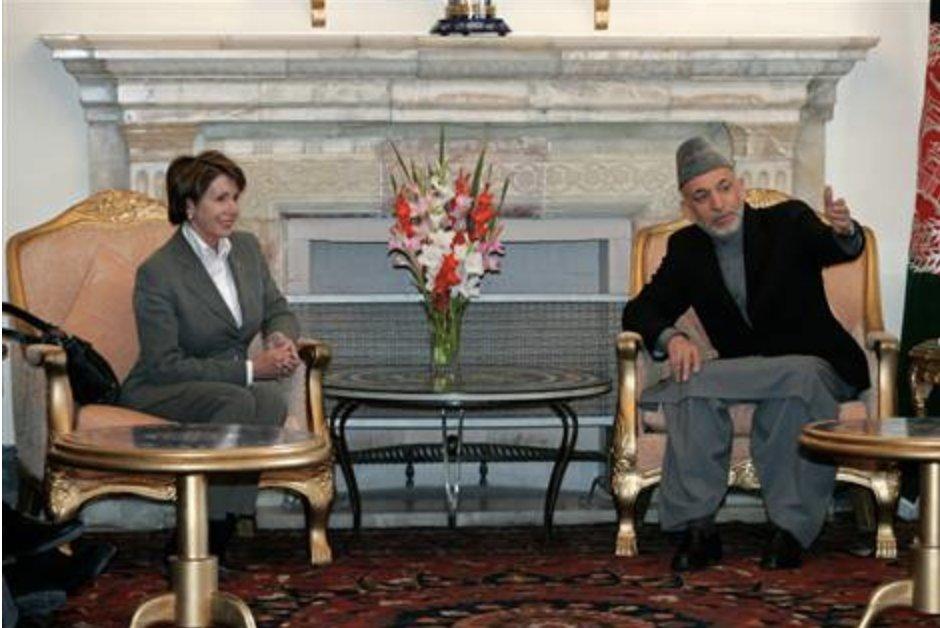 Pelosi meeting then Afghan President Karzai in Kabul 2007