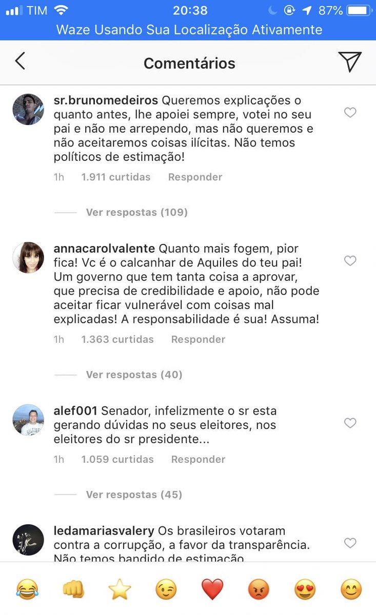 No Instagram de @FlavioBolsonaro insatisfação é grande após o STF suspender investigação sobre Fabrício Queiroz e outros citados em relatório do Coaf. Em nota filho do presidente diz que não deveria ser investigado sem autorização do STF. Defesa insistirá em nulidade das provas