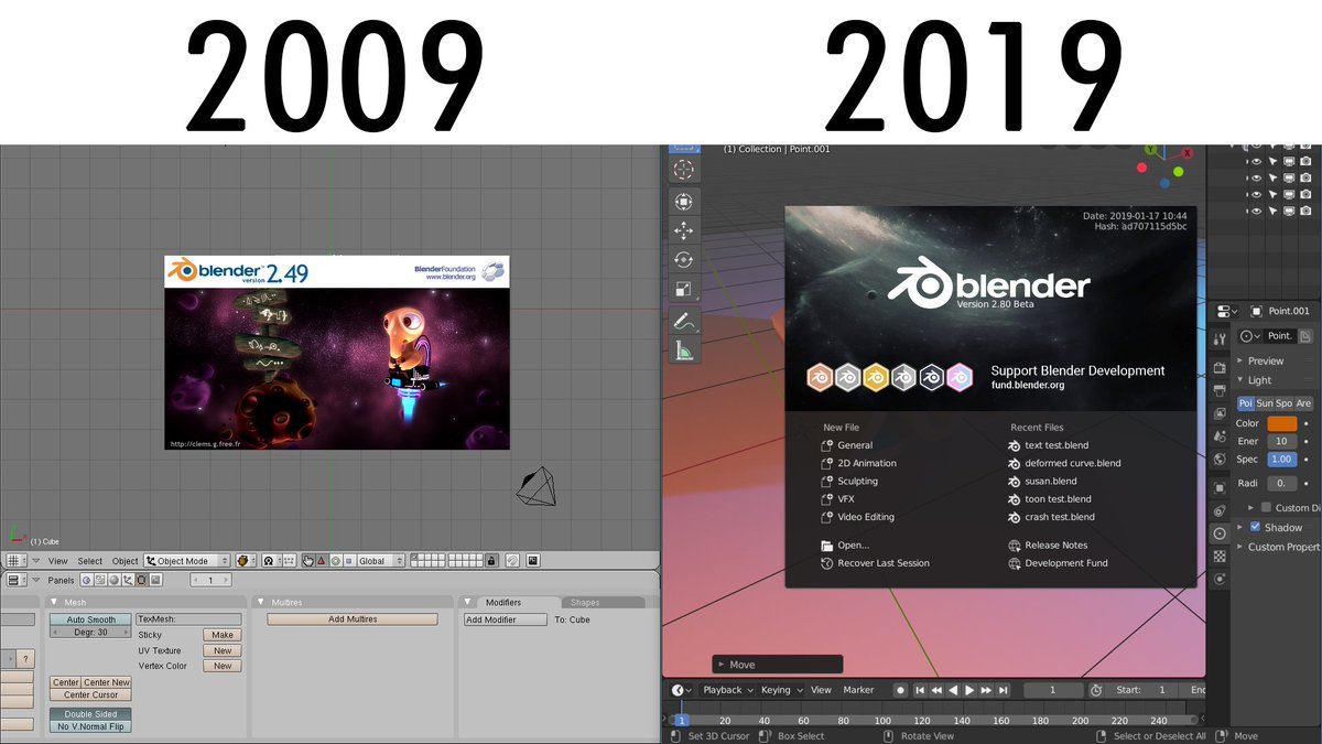 Must say @blender_org  has aged  so well over the past 10 years!  Thank you @tonroosendaal Bender is looking incredible and keeps getting better!  Keep up the hard work everyone!  #b3d #10yearchallenge #Blender3d <br>http://pic.twitter.com/OFAkFax5Co