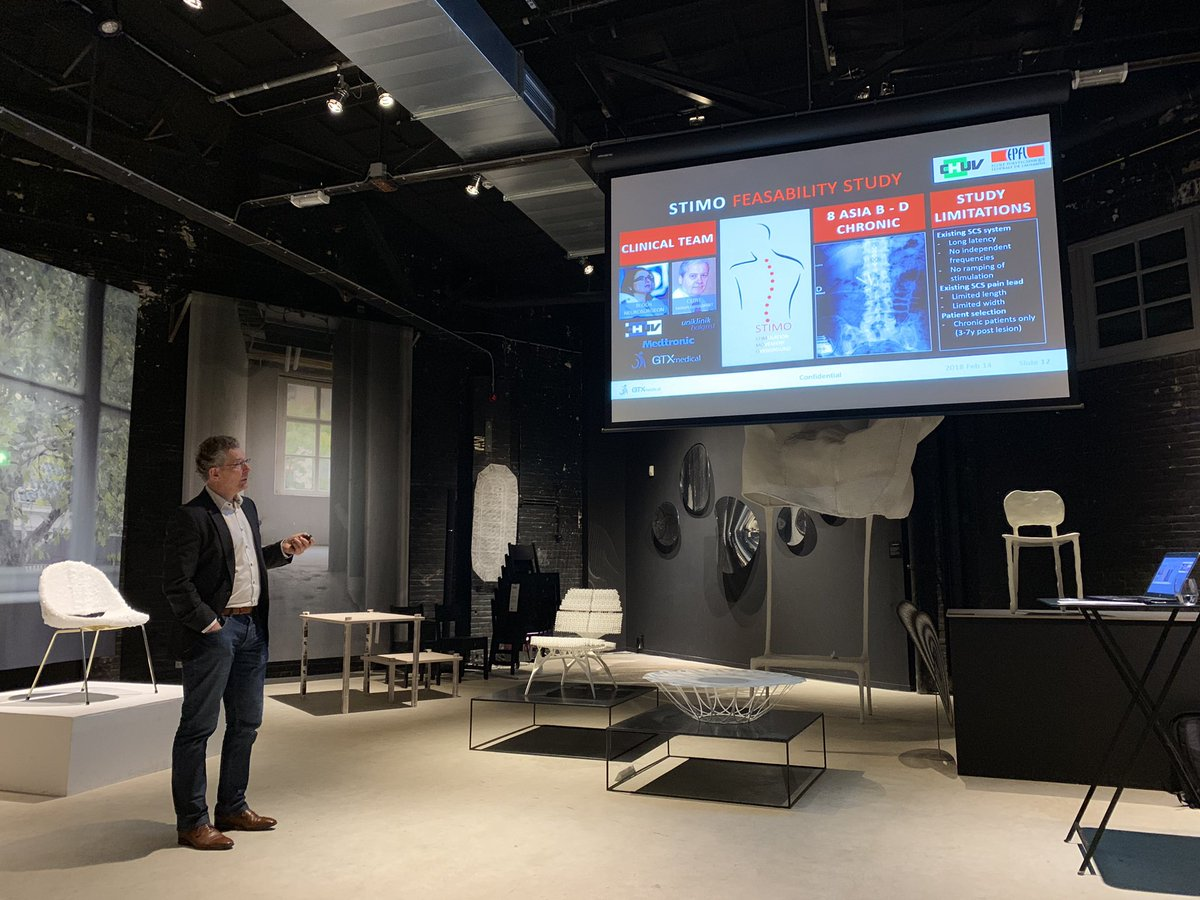 Earlier today at the @EHVInnocafe - a truly inspirational presentation by @GtxMedical about restoring the ability to walk by stimulating the spinal cord. #medical #innovation @KazerneEhv