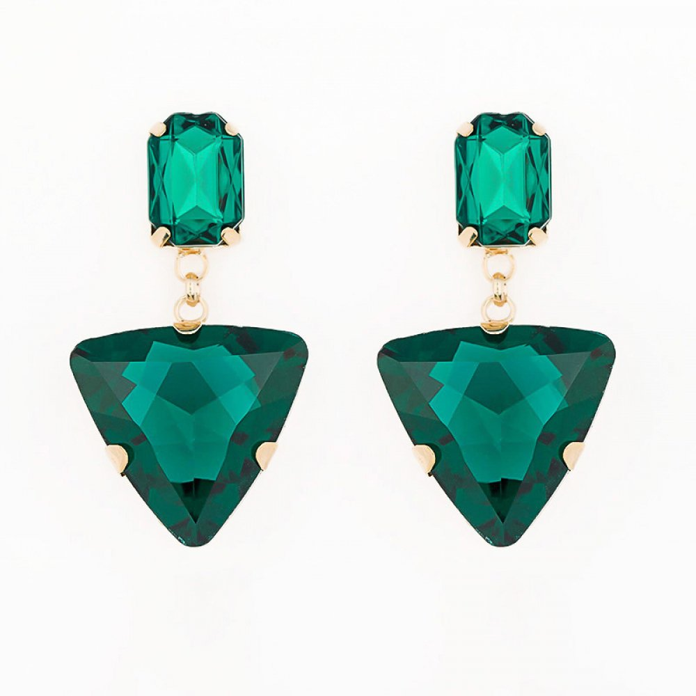 #travel #hippy Triangle Glass Rhinestone Earrings In Emerald Green<br>http://pic.twitter.com/uae28UTest