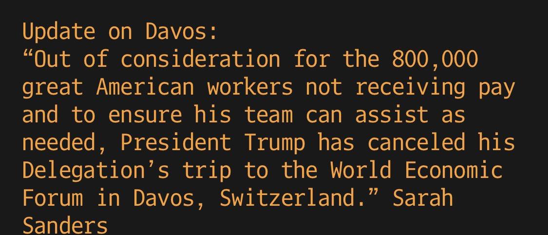 Trump cancels U.S. delegation travel to Davos