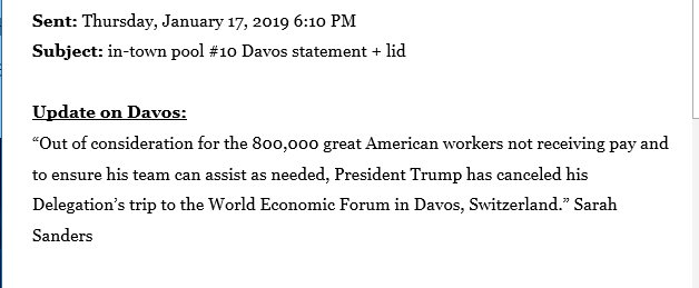 After canceling the military plane for the Speaker Pelosi trip to NATO & Afghanistan, the White House has now scrapped the trip of top officials to Davos