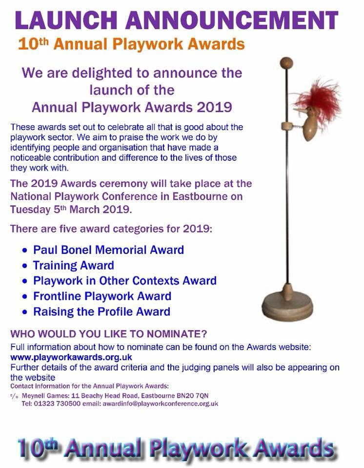 **THE  ANNUAL PLAYWORK AWARDS WEBSITE IS LIVE AND NOMINATIONS ARE NOW OPEN** #playworkawards #nominatenow #getinvolved #doitforplaywork