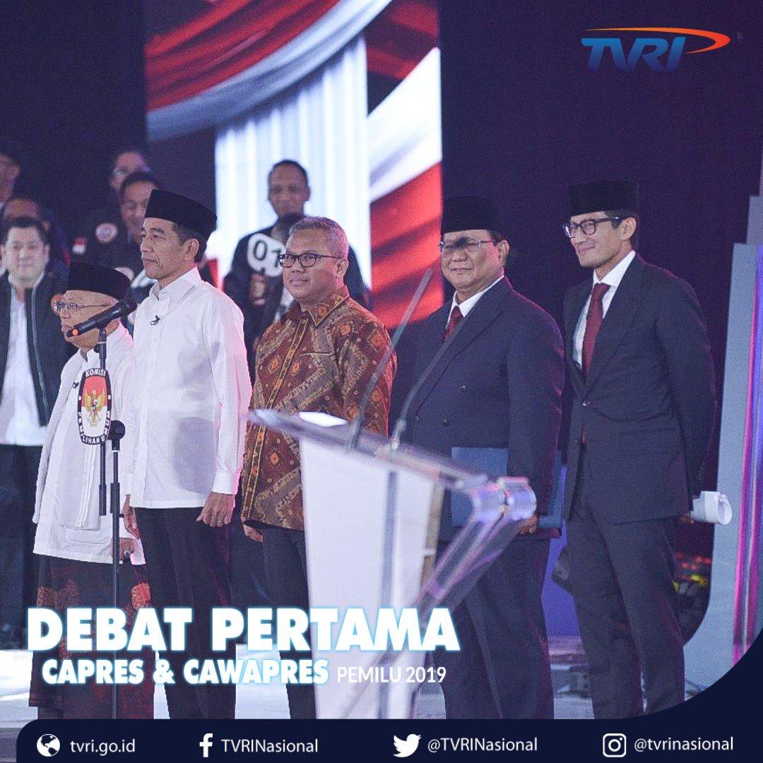 Terimakasih telah menyaksikan program DEBAT PERTAMA CAPRES & CAWAPRES PEMILU 2019 di #TVRI ,semoga bermanfaat bagi pemirsa dalam menentukan pilihan Presiden & Wapres di Pemilu 2019. Siapapun pilihan kita, kita tetap Indonesia... #DebatPilpresTVRI #SaluranPemersatuBangsa