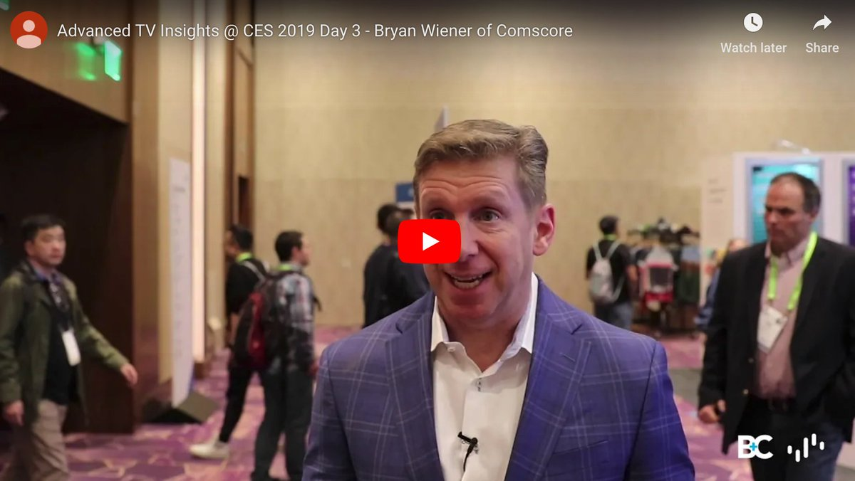 VIDEO: #CES2019 Day 3: We spoke w/ #AdvancedTV leaders re: How to Change an Industry http://bit.ly/2FKryFY Christine Cook (@cooktine) of @CNN, Joy Baer (@joybaer) of @FreeWheel / @Comcast, Bryan Wiener (@bwiener) of @Comscore, and Ramsey McGrory (@NYCMcG) of @TeamMediaocean