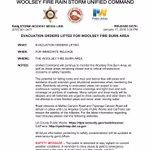 Image for the Tweet beginning: #WoolseyStorm *Update* All Evacuation Orders