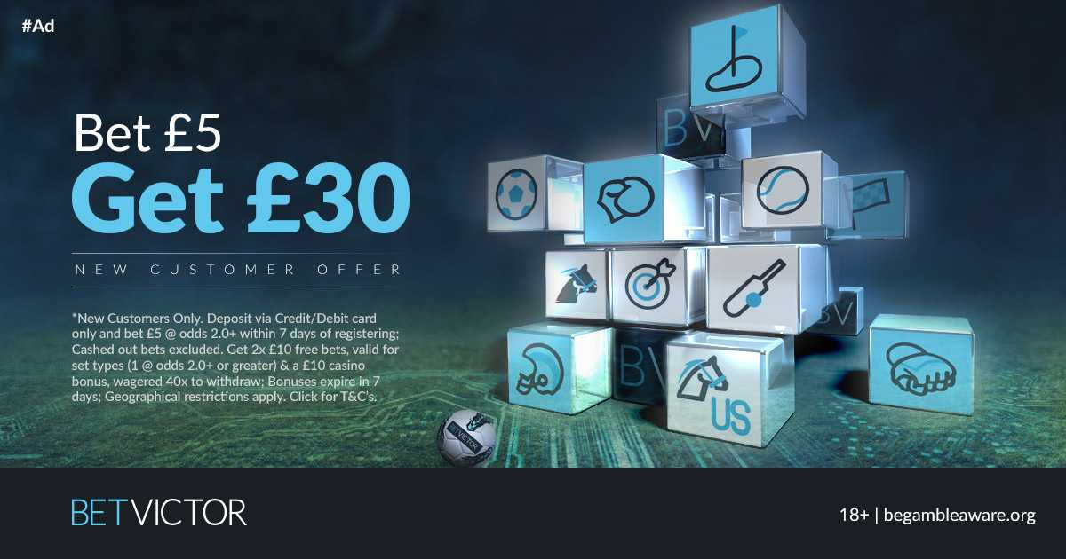 BetVictor is one of Europe's leading online gaming companies Football Specials, Daily Bet Boost, Acca Insurance, #PriceItUp  ▫️New Customers Offer▪️Bet £5 & Get £30 FREE ▫️£20 Sports Bets +£10 on #Casino #Betting 🔸http://banners.victor.com/processing/clickthrgh.asp?btag=a_43346b_2085…  T&C's apply Over 18's Retweet & Join⬆️j