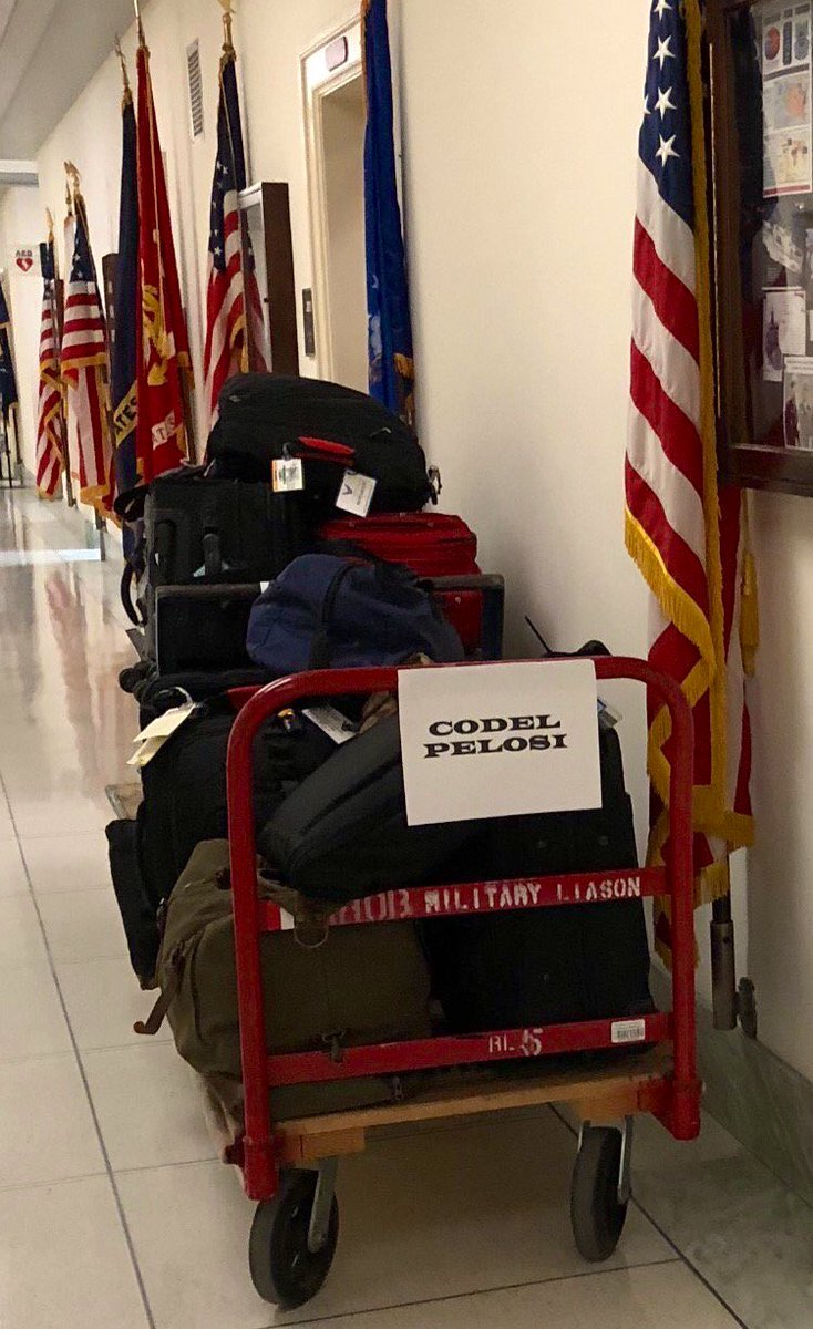 REAL PHOTO   (Not a meme or photoshop)  The US military returning a massive pile of travel bags congressional Democrats wanted to bring abroad after @realDonaldTrump canceled Pelosi's trip as Commander-in-Chief.  The bags were left unceremoniously on carts at their offices:<br>http://pic.twitter.com/3ejek66rtO
