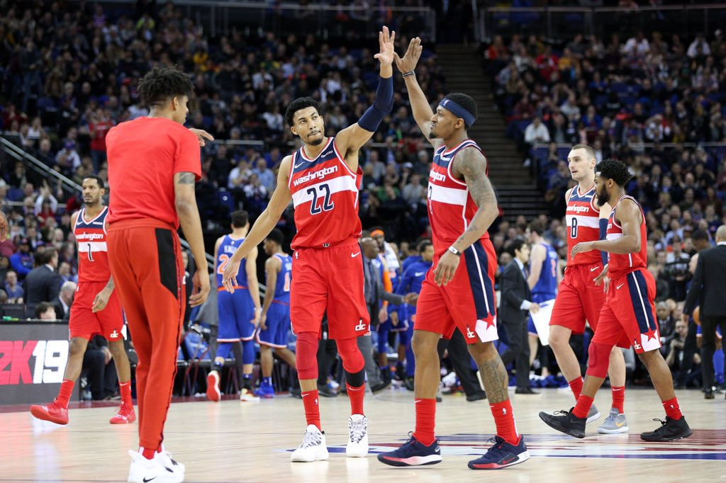 Los jugadores de Washington Wizards en el partido frente a New York Nicks que se celebró en Londres (Foto: Washington Wizards).
