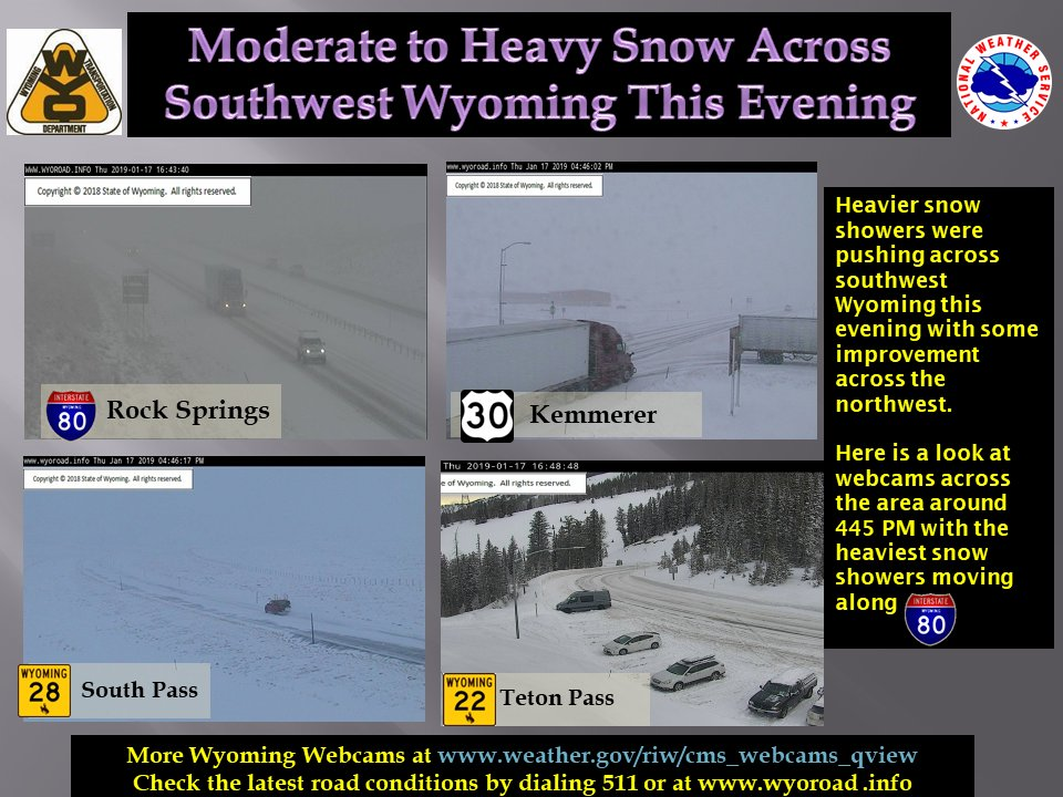 Here is a view of road conditions across western Wyoming late this afternoon.  The heaviest snow is expected to continue to move across southwest Wyoming this evening.  #wywx #wyoroad