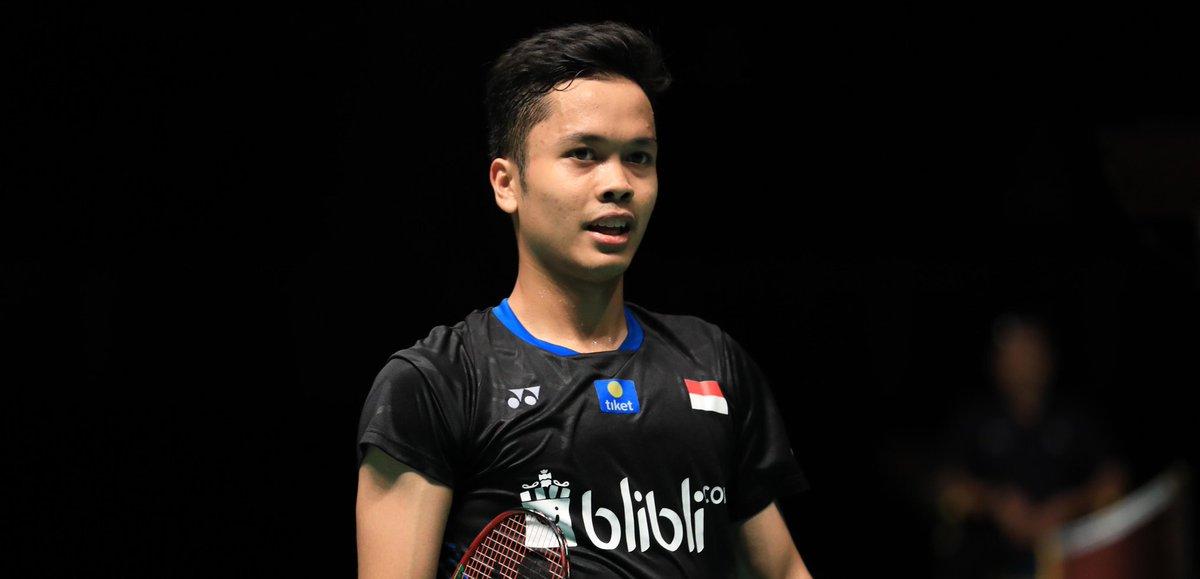 Pebulutangkis tunggal putra Indonesia, Anthony Sinisuka Ginting saat bertanding di Malaysia Masters 2019.