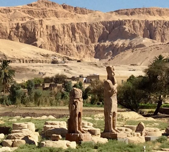 On my way to the Valley of the Kings. These new discoveries have been lying beneath the silted earth for thousands of years after a major earthquake destroyed the largest temple in Egyptian history. Right next to the Colossus of Memnon. Photo