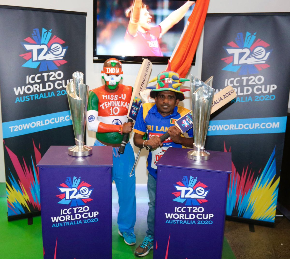 The #T20WorldCup will bring fans together from all over the world to Australia. Sri Lanka and India's number one fans came together today at the @MCG and will be there again in 2020!