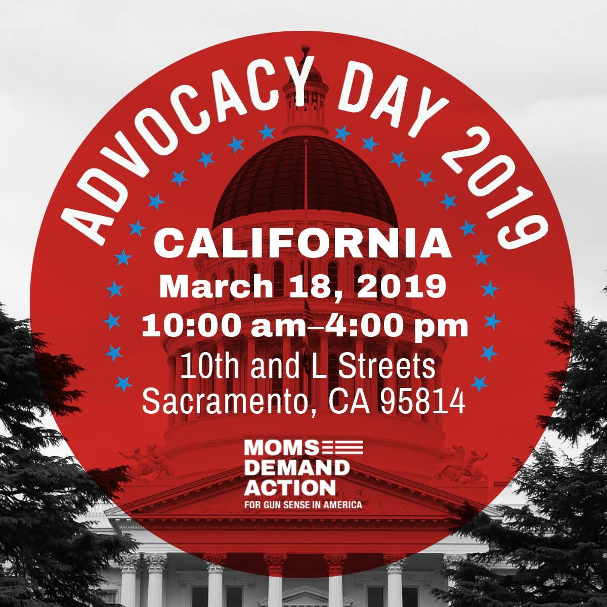 Join California @MomsDemand in Sacramento on March 18 for Advocacy Day 2019 - sign up at https://act.everytown.org/event/moms-demand-action-event/18548/signup/?source=tmno_events-keyword&akid&zip …  @JGoCAmom @miltsdad @Alex02ny and I are going! Join us!