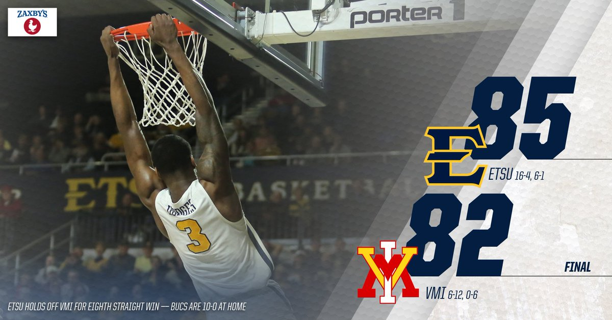 BUCS WIN! BUCS WIN!  ETSU holds off VMI in the final seconds to earn its eighth straight victory! The Bucs are now 10-0 at Freedom Hall #ETSUTough<br>http://pic.twitter.com/8LdaCqutM3