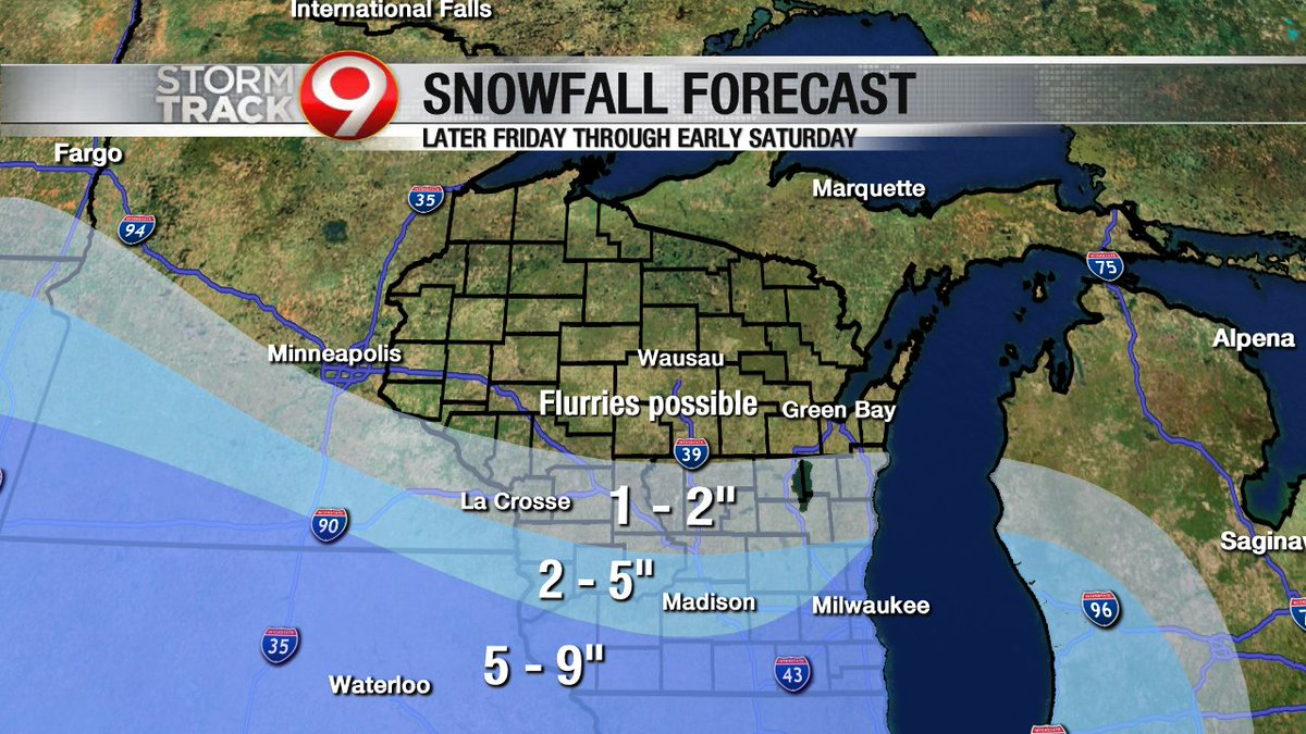 The snowfall forecast Friday night into Saturday includes possible flurries from the Highway 29 corridor southward, then a band of 1-2&quot; accumulations through Juneau, Adams, and Waushara Counties, and higher amounts through the rest of southern Wisconsin. <br>http://pic.twitter.com/Bdz2k3u24G