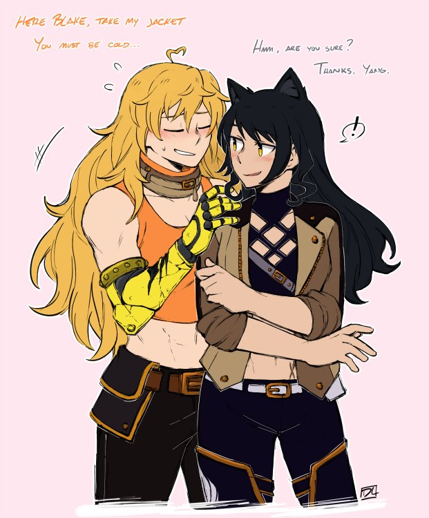 i too join the masses in wanting yang to give her jacket to blake girlfriends wearing each others' clothes... ain't it convenient yang is a handy dandy space heater? #bumbleby