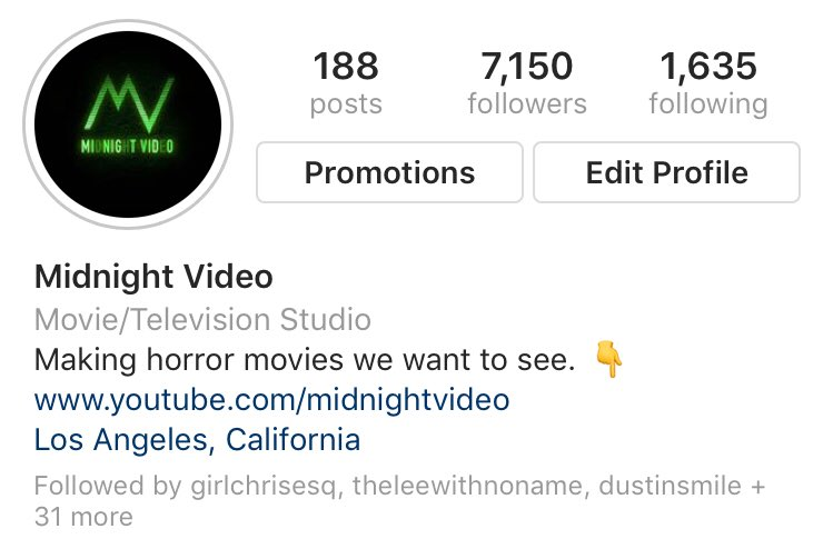 If you love scary movies but haven't followed us on instagram yet, check us out! instagram.com/midnight_video/