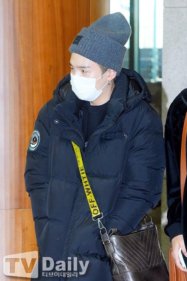 60abfdbbe Suga wearing BT21 long padding coat shooky at Incheon  Airport.pic.twitter.com/hzPhmtL3nE