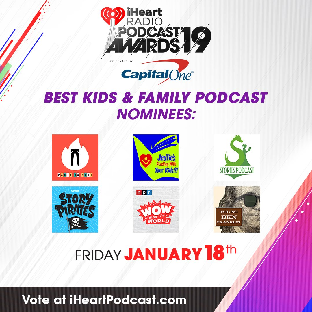 The winner for 'Best Kids & Family Podcast' will be revealed TONIGHT! Who do you think will win? 🍭  Tune in tonight at 8PM PT:  https://t.co/ljbeICe6uw#iHeartPodcastAwards