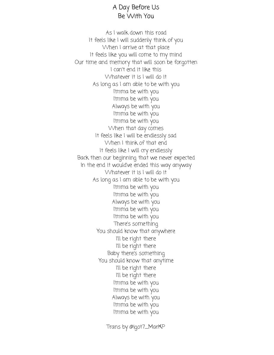 ENG TRANS for Be With You A Day Before Us OST #JB_연애하루전OST_12PM #BeWithYou_JBGOT7