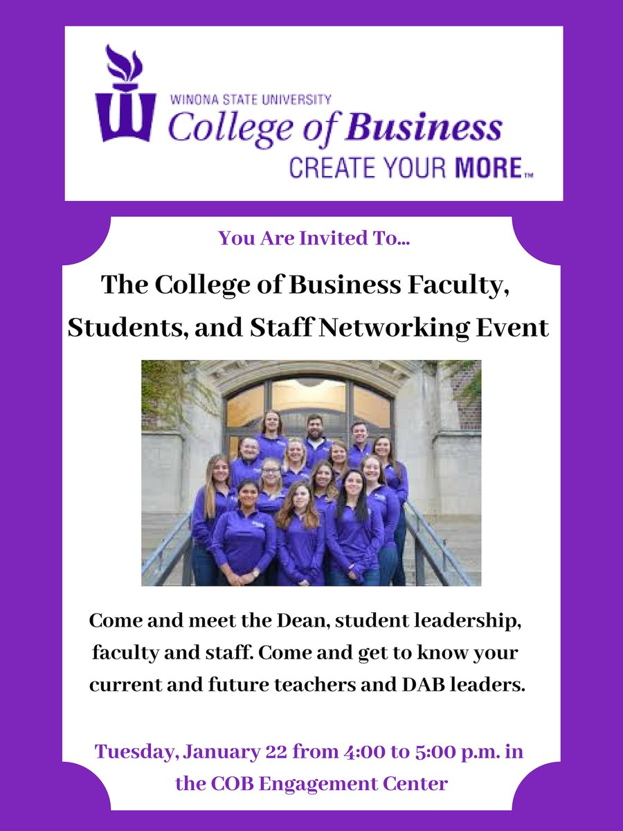 Calling all College of Business Students! The Create Your More Networking Hour will be on Tuesday, January 22nd from 4:00 to 5:00 p.m. in the College of Business Engagement Center.  You will have the chance to meet the Dean, student leadership, faculty and staff! #createyourmore