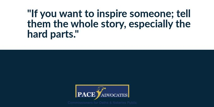 If you want to inspire someone; tell them the whole story, especially the hard parts. #FridayMotivation Photo