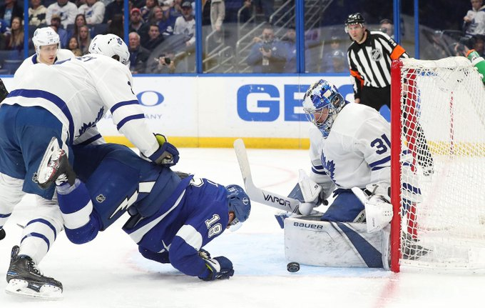 Frederik Andersen returns the favor as Lightning fall to Maple Leafs 4-2 #GoBolts #TORvsTBL Photo