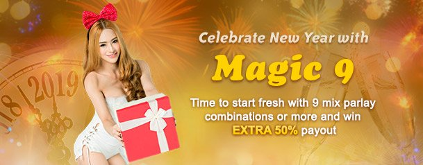 We've got more fireworks for you! With #SBOBET's MAGIC 9, you can get 50% MORE WINNINGS from every bet you make!  How about that for starting the New Year with a bang? Grab it here @ https://goo.gl/mXwq3p