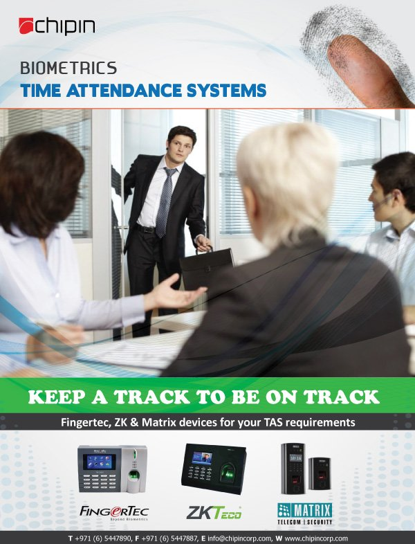 Chipin is Dubai based companies who offering you time and #AttendanceSystems that use face and fingerprint multi #biometric identification techniques to record the office entry time and exit time of the employees every day.  https:// bit.ly/2PwpDer  &nbsp;   <br>http://pic.twitter.com/R6V2xbiZcF