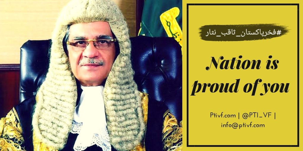 We want to say a big thanks on behalf of PTIVF and Pakistani Nation to Ex CJ Saqib Nisar For all the good things that he has done for the Betterment of the country.. You will be remembered always with good name in the history of Pakistan.. We love you Sir  #فخرپاکستان_ثاقب_نثار <br>http://pic.twitter.com/VcaEBuNYsP