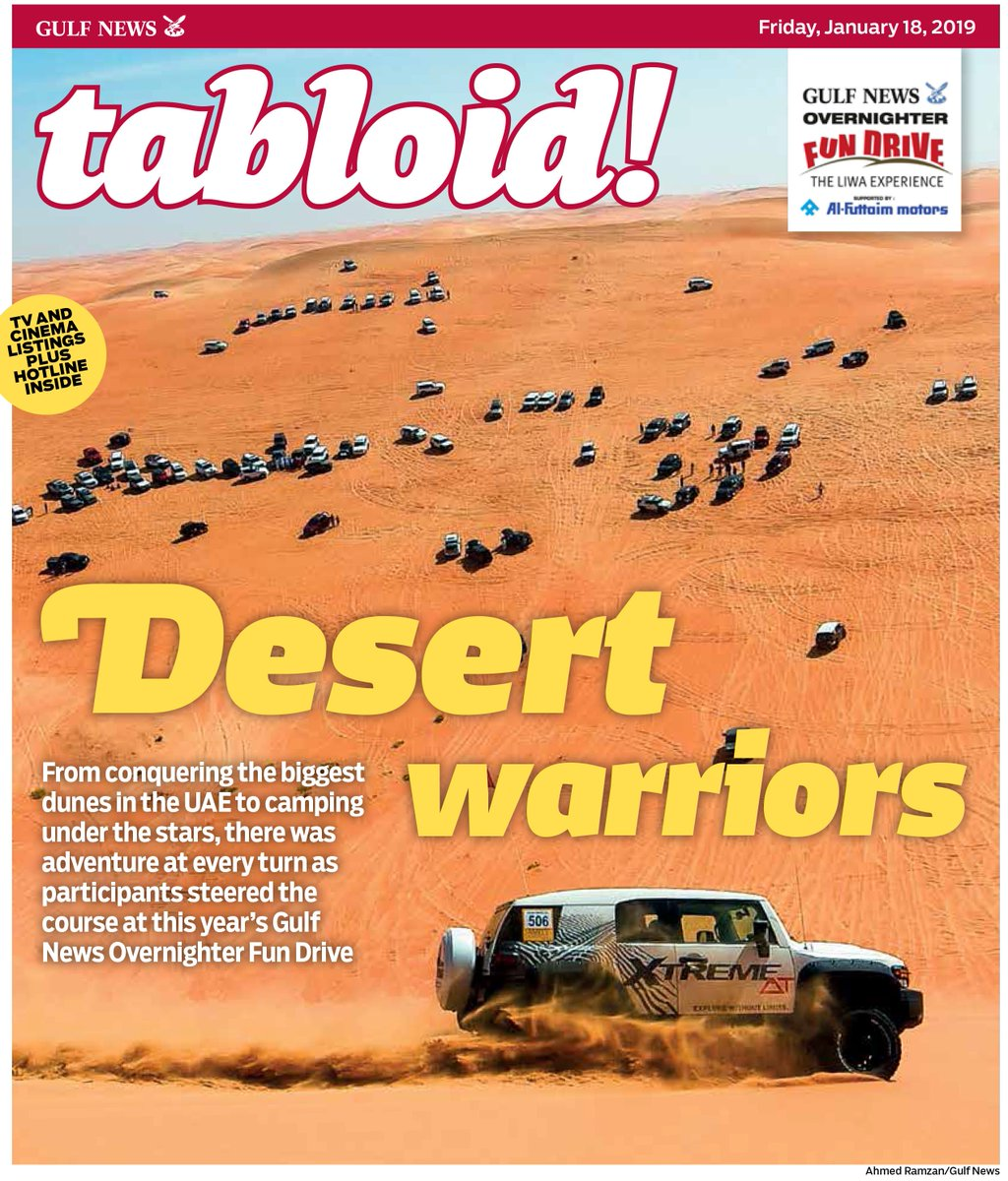 Team spirit was celebrated at this year's #GulfNewsFunDrive #TheLiwaExperience, where thrill seekers drove into the Empty Quarter, #AbuDhabi to conquer the biggest dunes in the #UAE. Grab today's special edition for all that went down. #TabloidCover   https://t.co/kosL2USKJm