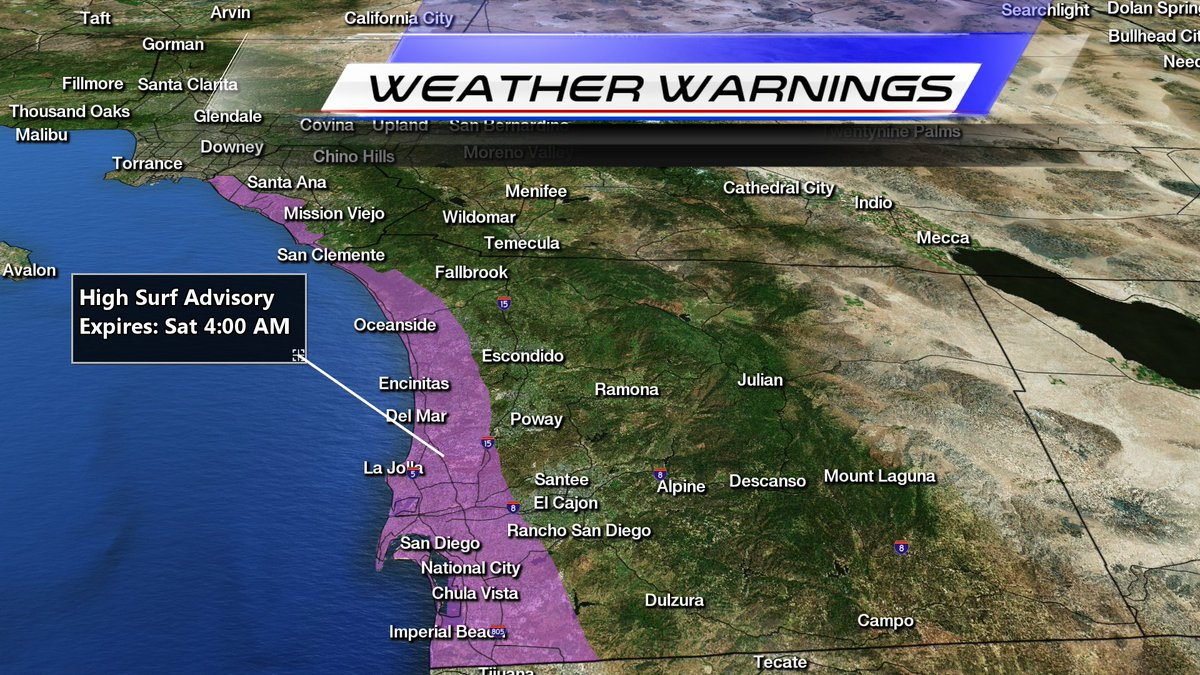 High Surf Advisory for our beaches through Sat at 4am #KUSI #KUSINEWS
