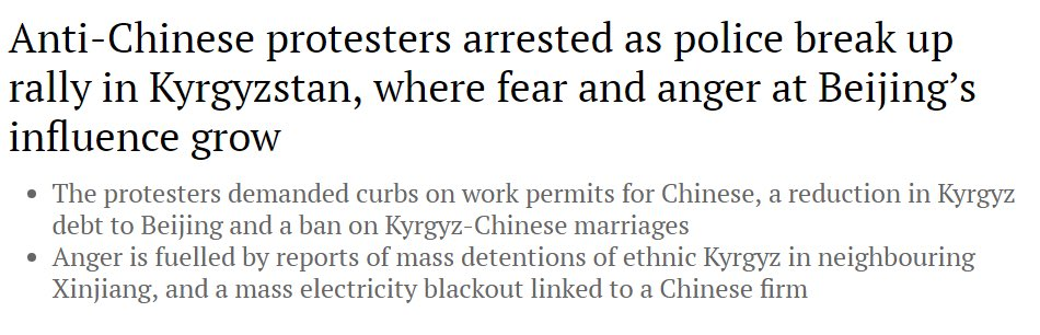 "On South China Morning Post:  ""Anger is fuelled by reports of mass detentions of ethnic Kyrgyz in neighbouring Xinjiang, and a mass electricity blackout linked to a Chinese firm"" https://buff.ly/2QW59rw"