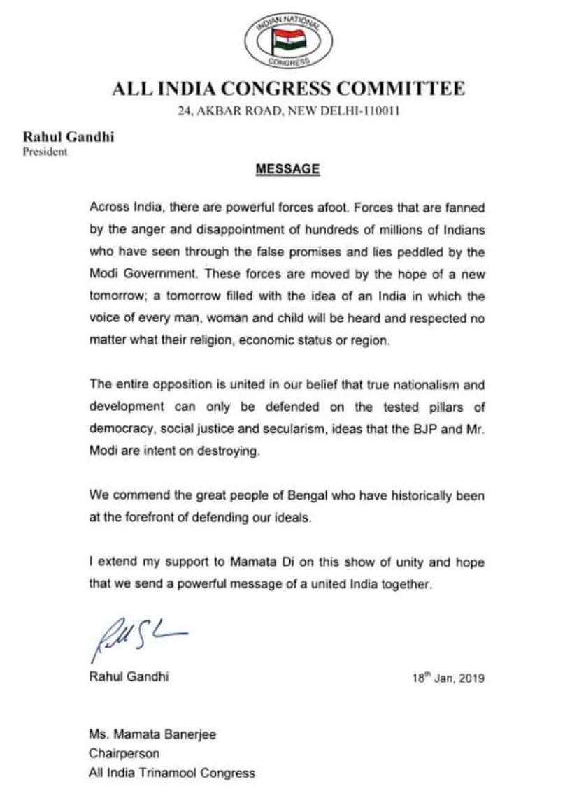 Congress President @RahulGandhi writes to @MamataOfficial to extend his support & send a powerful message of a united India.