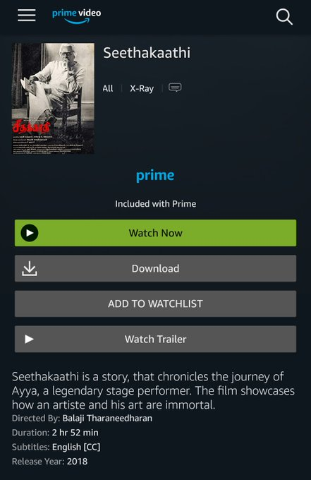 The untrimmed version of #VijaySethupathi 25, #Seethakaathi streaming on @PrimeVideoIN now. Photo