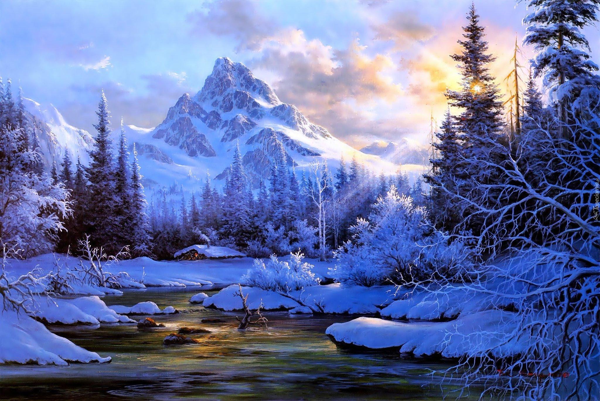 Открытки зимние пейзажи