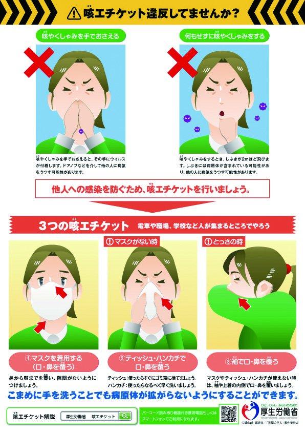 【間違った #咳エチケット をしていませんか?】 咳やくしゃみをするときに、素手でおさえたり、何もしないで、咳やくしゃみをしていませんか?マスクやティッシュ・ハンカチ、袖で、口・鼻を覆う正しい咳エチケットで、感染症の拡大予防を。 https://t.co/b2AN2pZSdT #厚生労働省 #進撃の咳エチケット