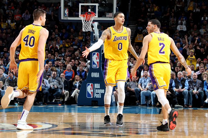 The @Lakers prevail in overtime against OKC behind 32 PTS, 7 3PM, 8 REB from Kyle Kuzma! #LakeShow 138 #ThunderUp 128 Ivica Zubac: 26 PTS (career-high), 12 REB Lonzo Ball: 18 PTS, 10 AST, 6 REB Josh Hart: 12 PTS, 10 REB, 5 AST Ingram: 8 PTS, 11 AST… Photo