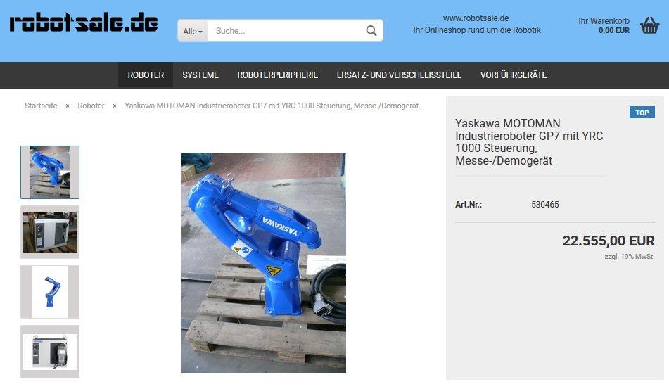 #Yaskawa #MOTOMAN #Industrieroboter #GP7 mit #YRC1000 #Steuerung, für 25.555€ zzgl. MwSt im #Onlineshop: https://www.robotsale.de/product_info.php?info=p25_yaskawa-motoman-industrieroboter-gp7-mit--yrc-1000-steuerung--messe--demogeraet.html… @robotsale_de