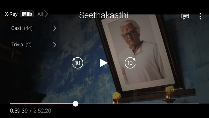 Now watching aging #Seethakaathi @ Mind relaxing ❤ Photo